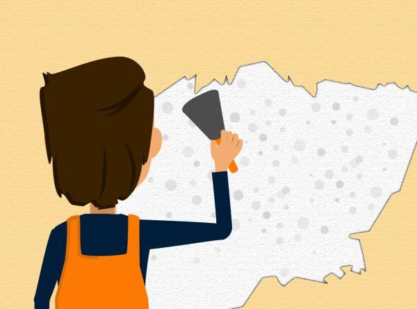 Tapete entfernen und die Wand von Schimmel und anderen Materialien entfernen