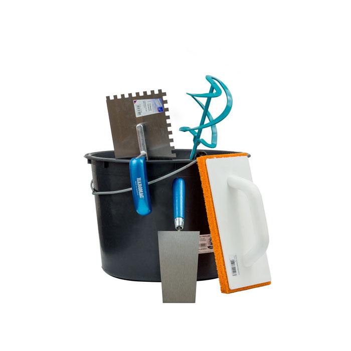 Klimaplatten Werkzeug Pack L, bestehend aus: Baueimer, Profi Wendelrührer, Putzkelle, Glättkelle gezahnt, Reibbrett
