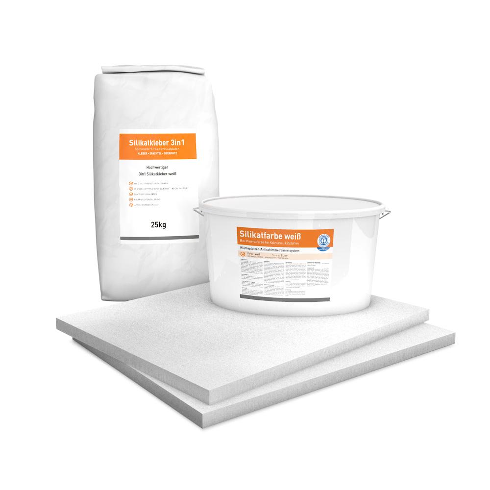 System Set für Innendämmung bestehend aus Kalziumsilikatplatten (500 x 625 x 25mm), Silikatkleber 3in1 und Silikatfarbe.