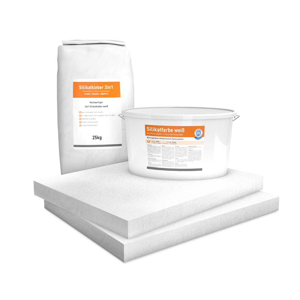 System Set für Innendämmung bestehend aus Kalziumsilikatplatten (500 x 625 x 50mm), Silikatkleber 3in1 und Silikatfarbe.