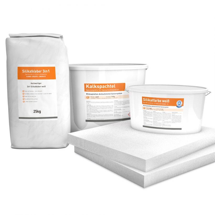 System Set für Innendämmung bestehend aus Kalziumsilikatplatten (500 x 625 x 50mm), Silikatkleber 3in1, Kalkspachtel und Silikatfarbe.