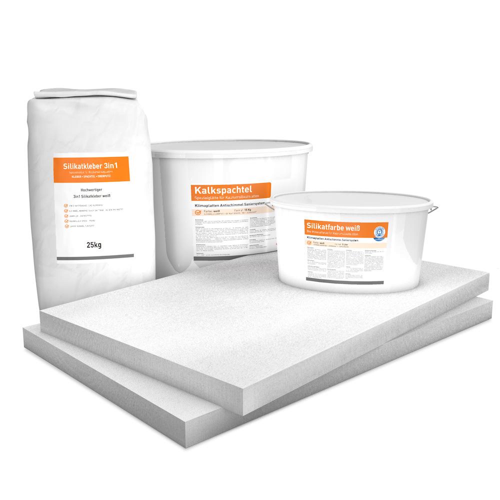 Vorgrundierte Kalziumsilikatplatten Renovierpaket im Format 1000 x 625 50 mm Plus3 Zubehör