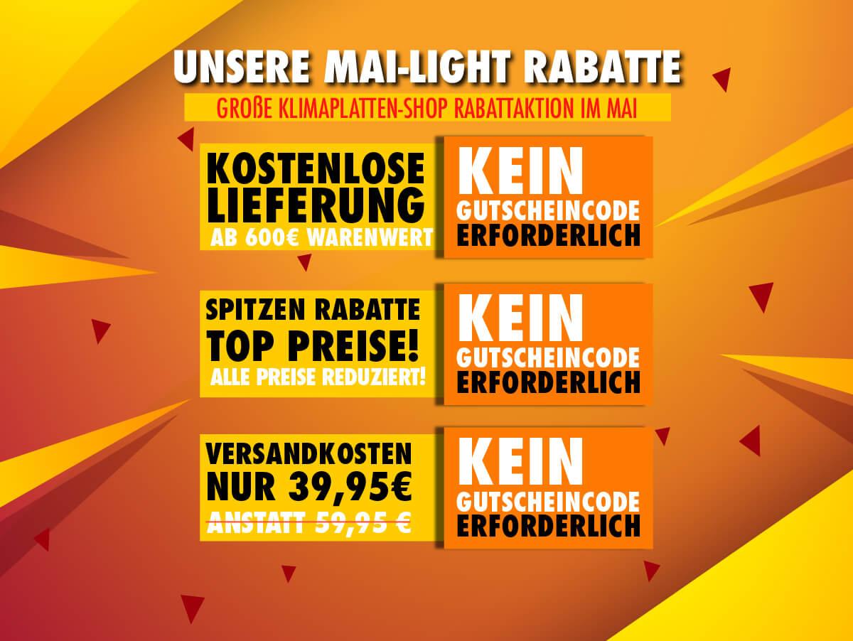 Klimaplatten-Shop Mai-light Rabattaktion - alle Preise stark reduziert!